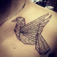 Black pigeon origami bird tattoo