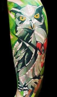 Color tattoo owl