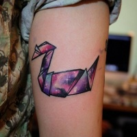 Coloured bird origami tattoo by Karl Hung