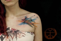 Watercolor bird tattoo on the shoulder by koraykaragozler
