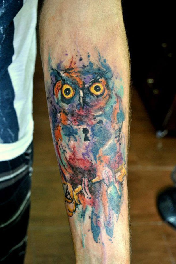 Cool bird tattoos disign part 3 for Watercolor owl tattoo